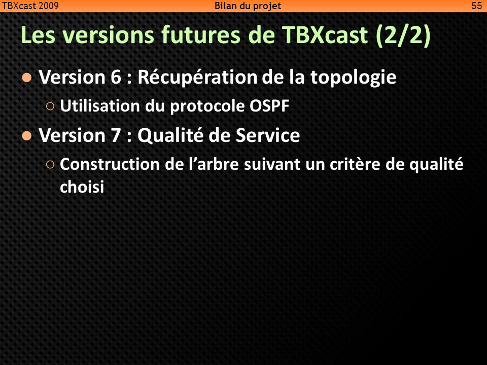 Les versions futures de TBXcast (2/2)