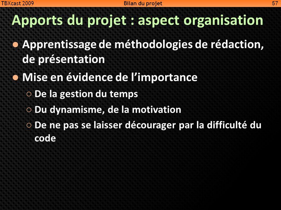 Apports du projet : aspect organisation