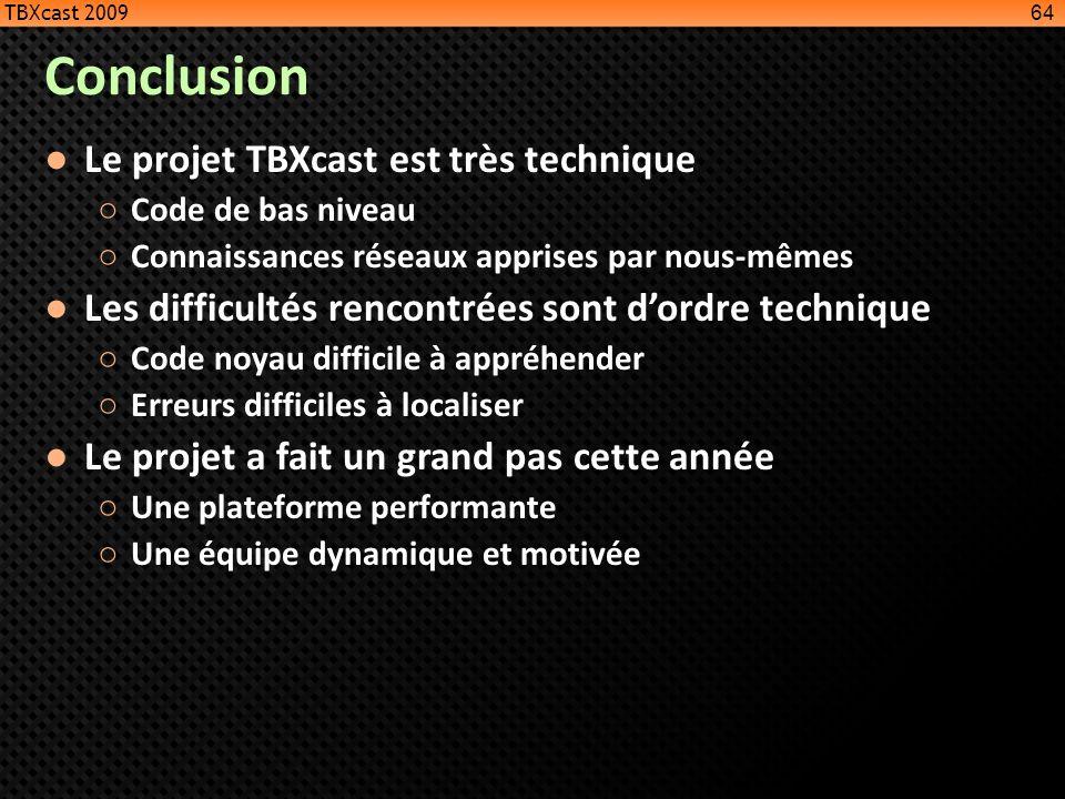 Conclusion Le projet TBXcast est très technique