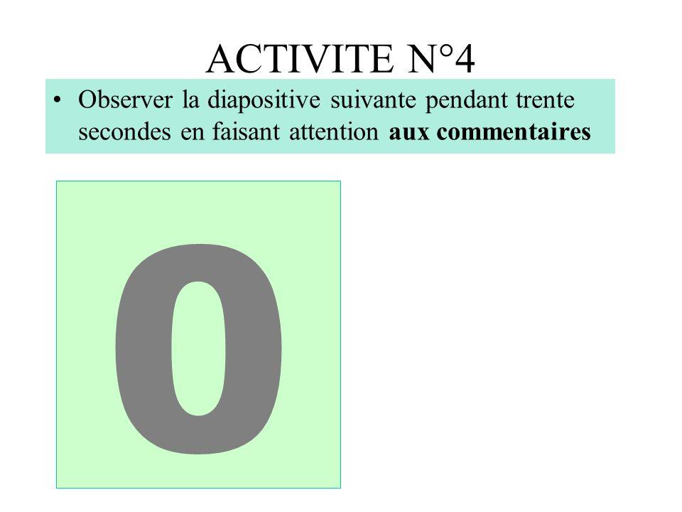 ACTIVITE N°4 Observer la diapositive suivante pendant trente secondes en faisant attention aux commentaires.