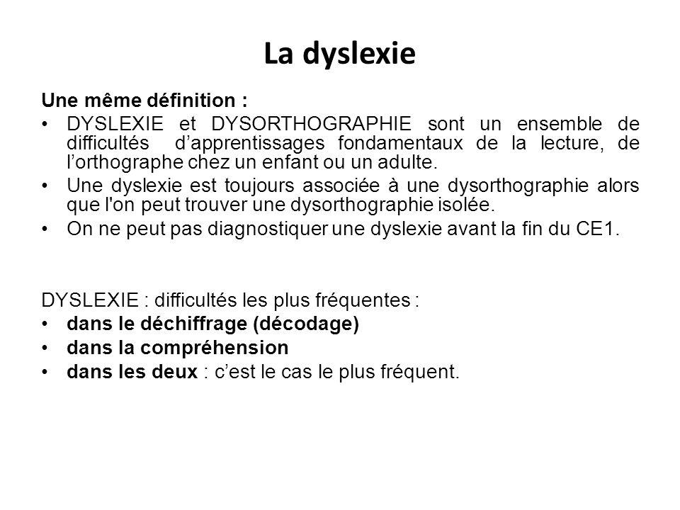 La dyslexie Une même définition :