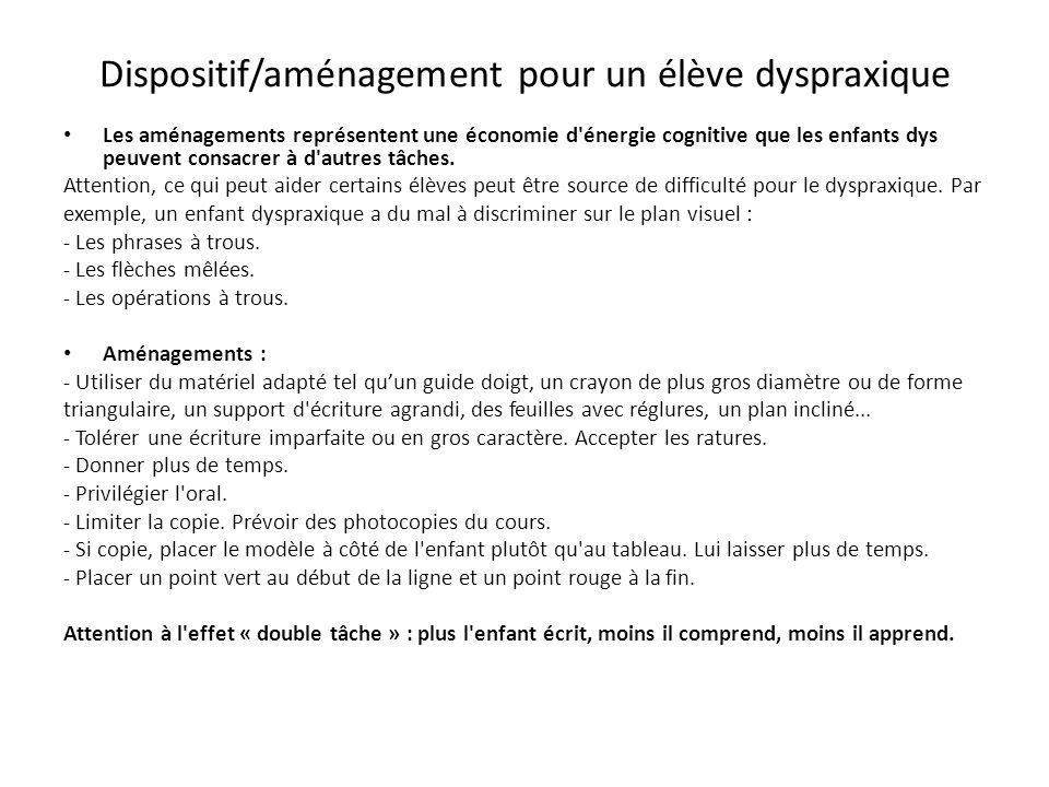 Dispositif/aménagement pour un élève dyspraxique