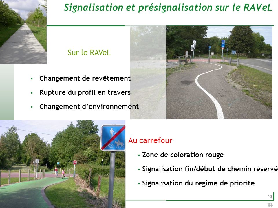 Signalisation et présignalisation sur le RAVeL
