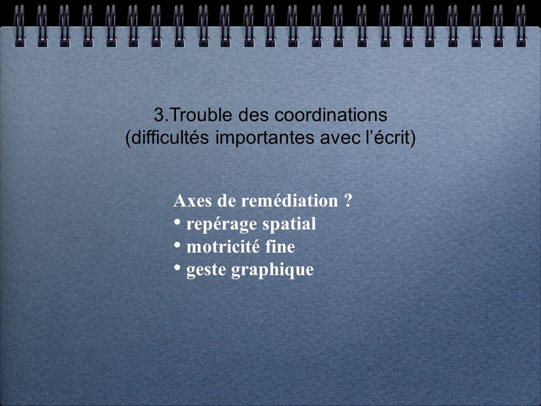3.Trouble des coordinations (difficultés importantes avec l'écrit)