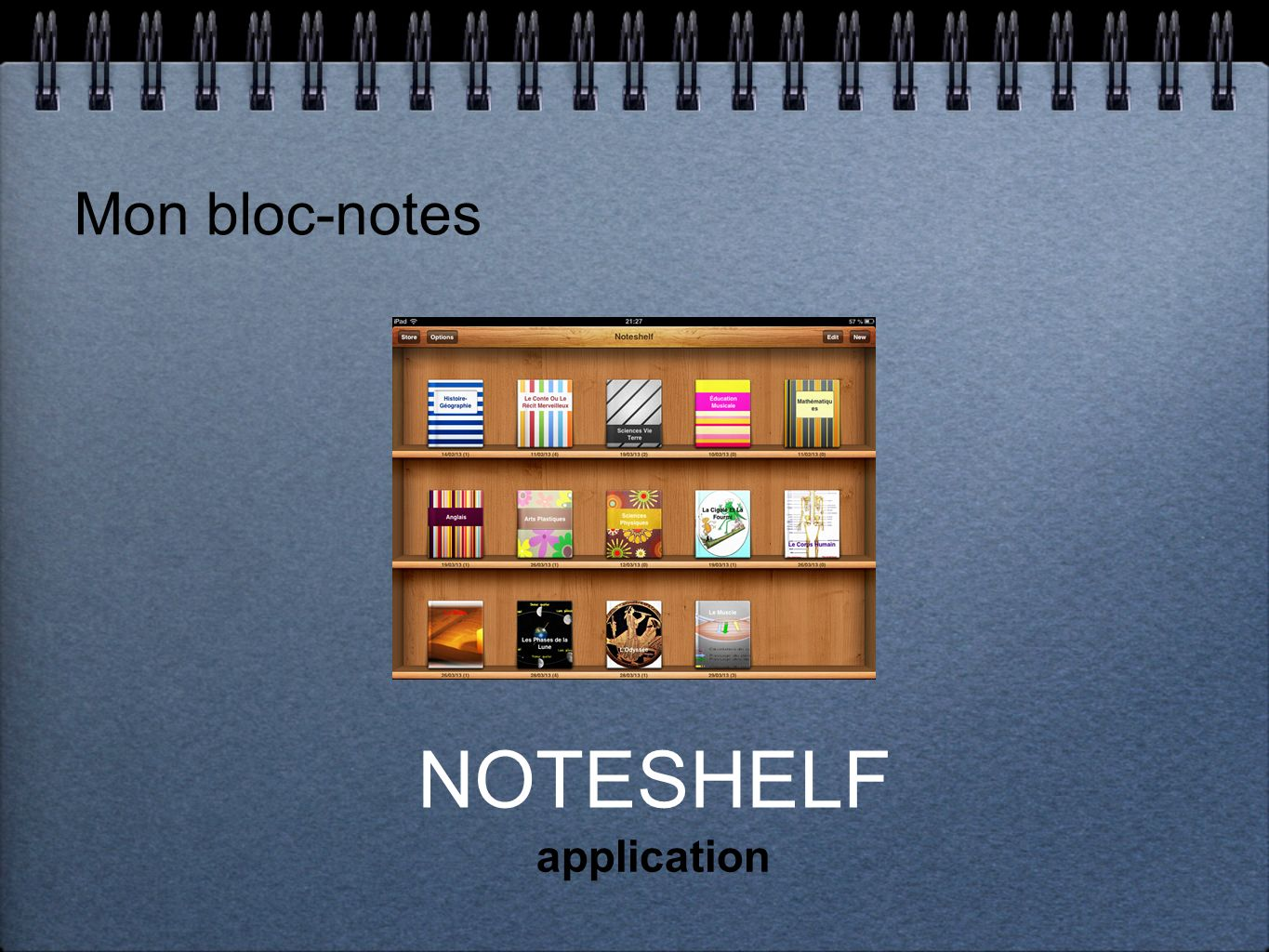 Mon bloc-notes NOTESHELF application