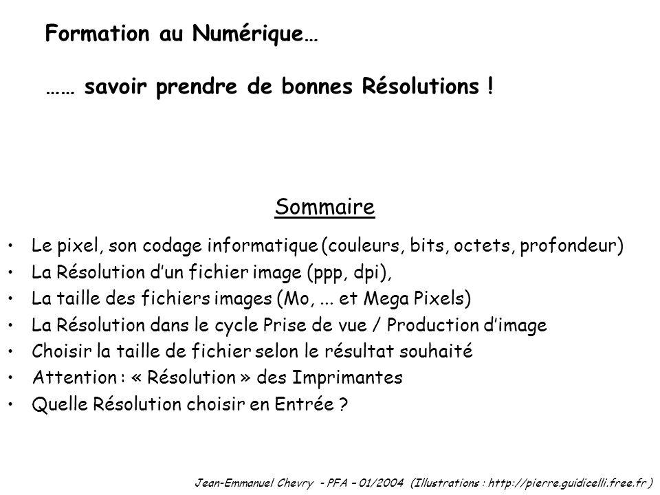 Formation au Numérique… …… savoir prendre de bonnes Résolutions !