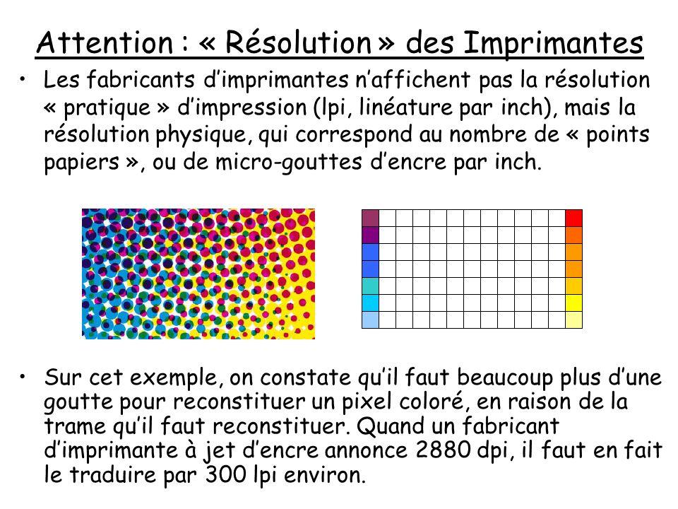 Attention : « Résolution » des Imprimantes