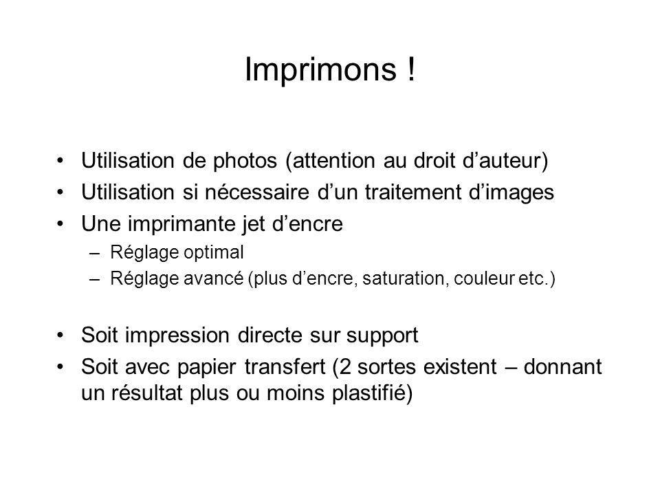 Imprimons ! Utilisation de photos (attention au droit d'auteur)