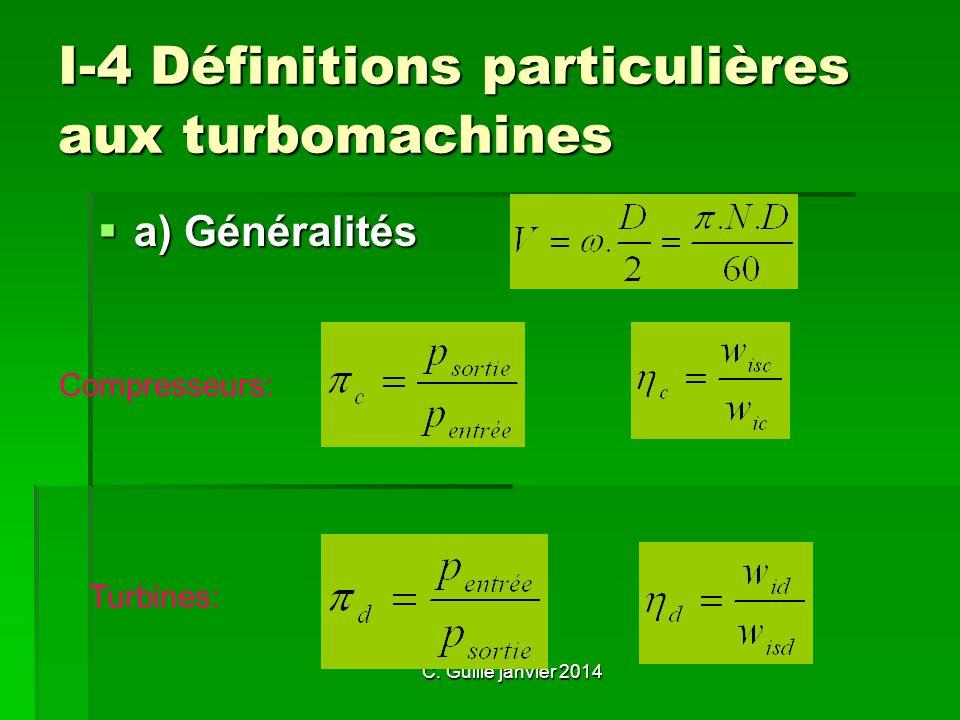 I-4 Définitions particulières aux turbomachines