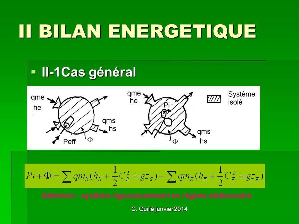 II BILAN ENERGETIQUE II-1Cas général