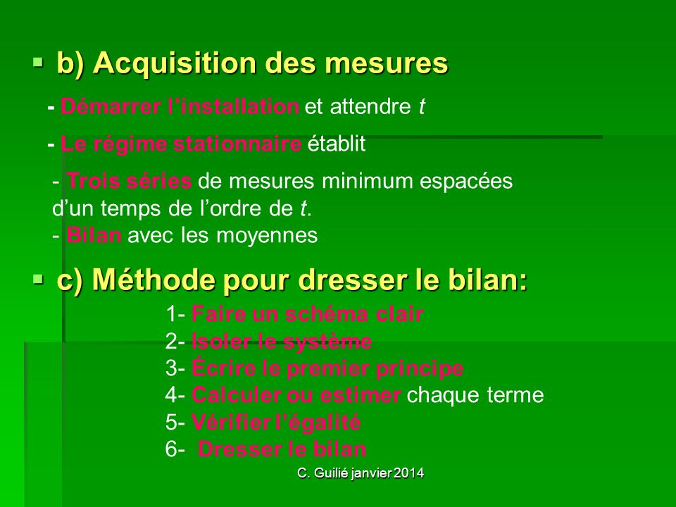 b) Acquisition des mesures