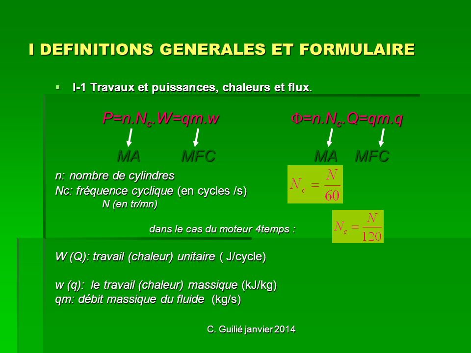 I DEFINITIONS GENERALES ET FORMULAIRE
