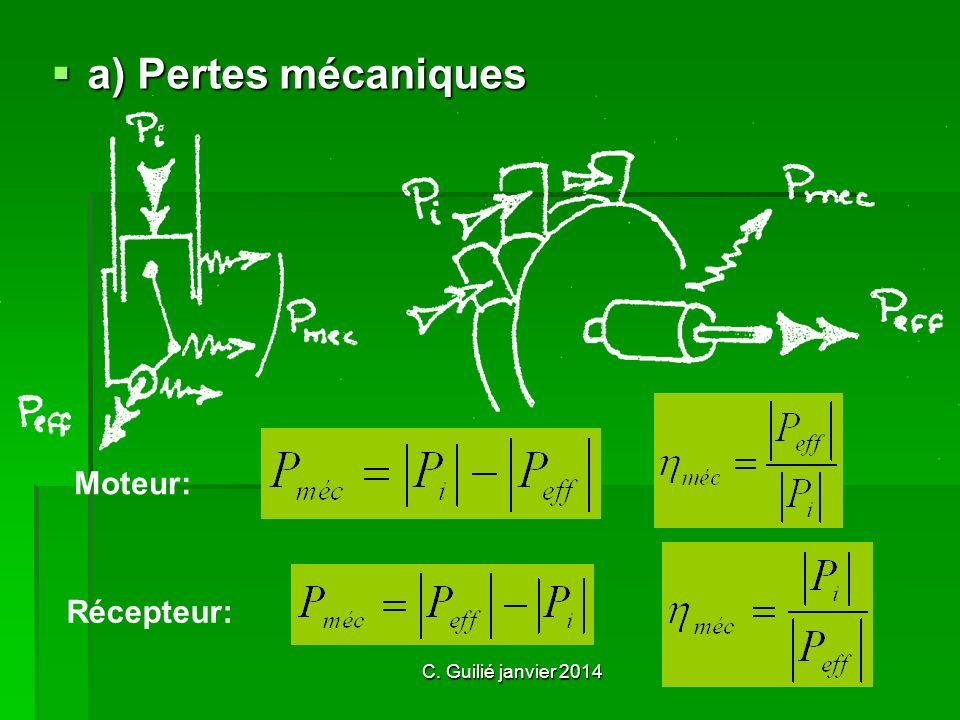 a) Pertes mécaniques Moteur: Récepteur: C. Guilié janvier 2014