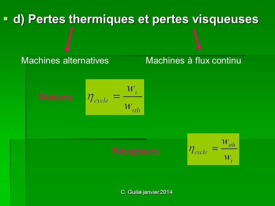 d) Pertes thermiques et pertes visqueuses