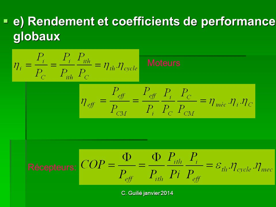 e) Rendement et coefficients de performance globaux