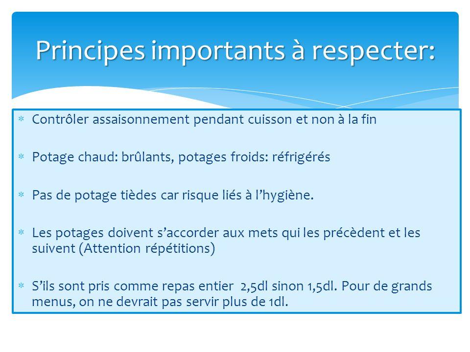 Principes importants à respecter: