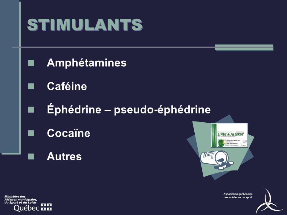STIMULANTS Amphétamines Caféine Éphédrine – pseudo-éphédrine Cocaïne