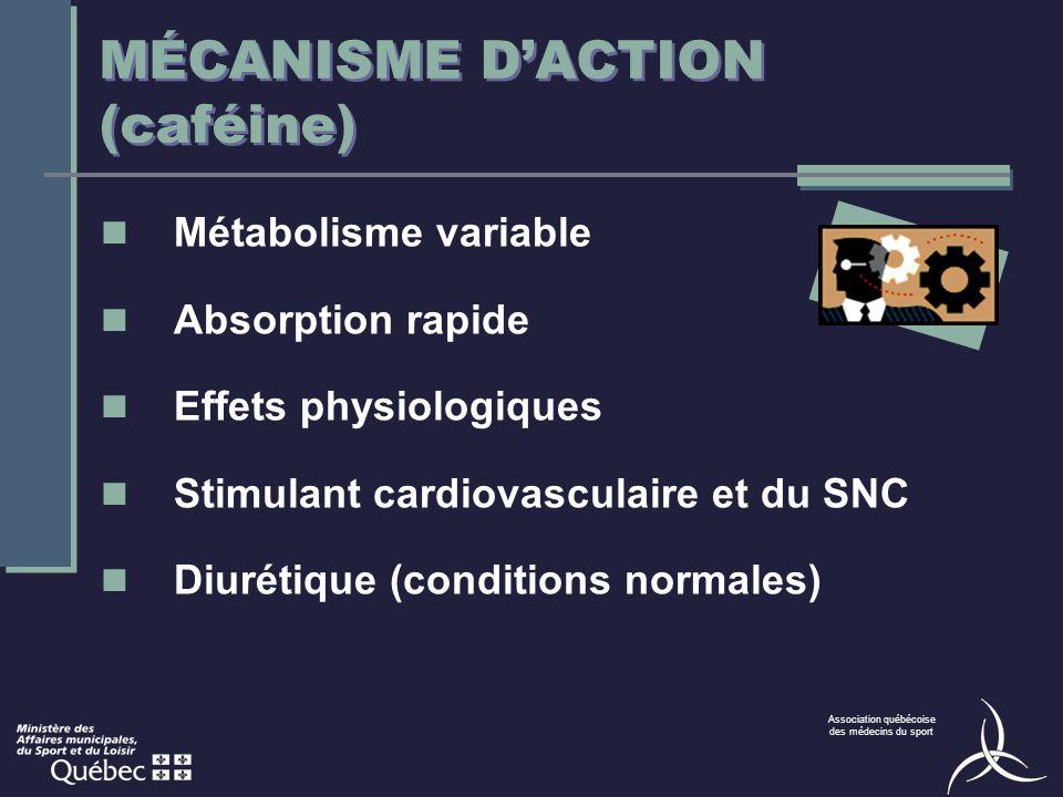 MÉCANISME D'ACTION (caféine)