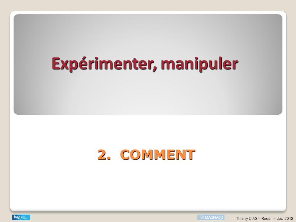 Expérimenter, manipuler