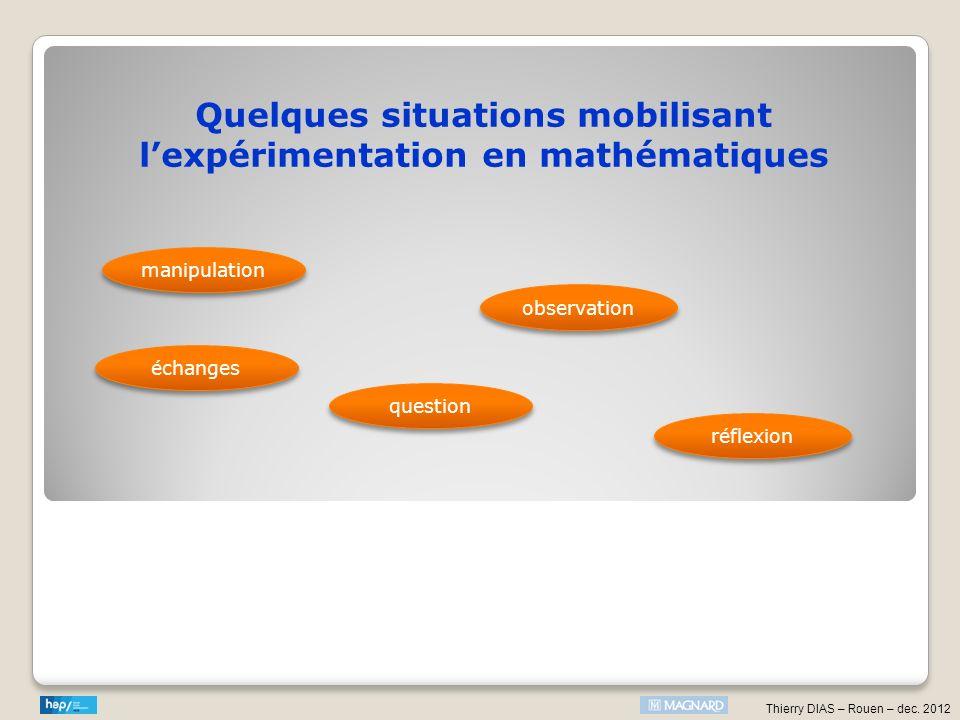 Quelques situations mobilisant l'expérimentation en mathématiques