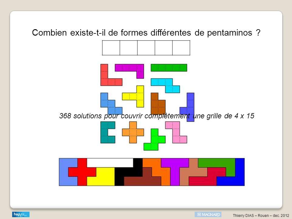Combien existe-t-il de formes différentes de pentaminos