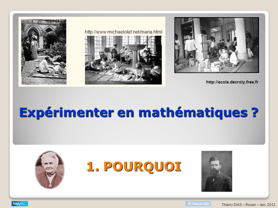 Expérimenter en mathématiques