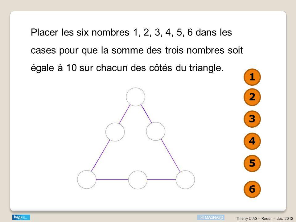 Placer les six nombres 1, 2, 3, 4, 5, 6 dans les cases pour que la somme des trois nombres soit égale à 10 sur chacun des côtés du triangle.