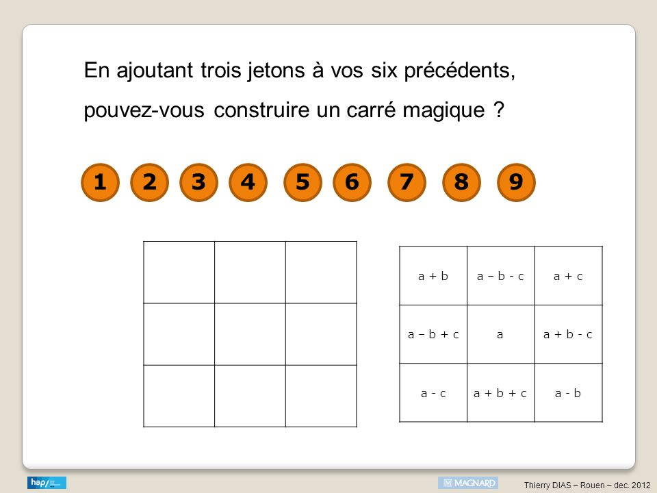 En ajoutant trois jetons à vos six précédents, pouvez-vous construire un carré magique