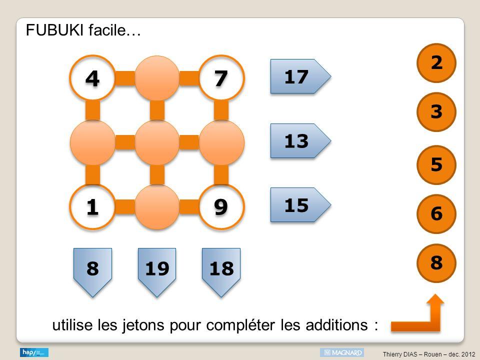 FUBUKI facile… 2 4 7 17 3 13 5 1 9 15 6 8 8 19 18 utilise les jetons pour compléter les additions :