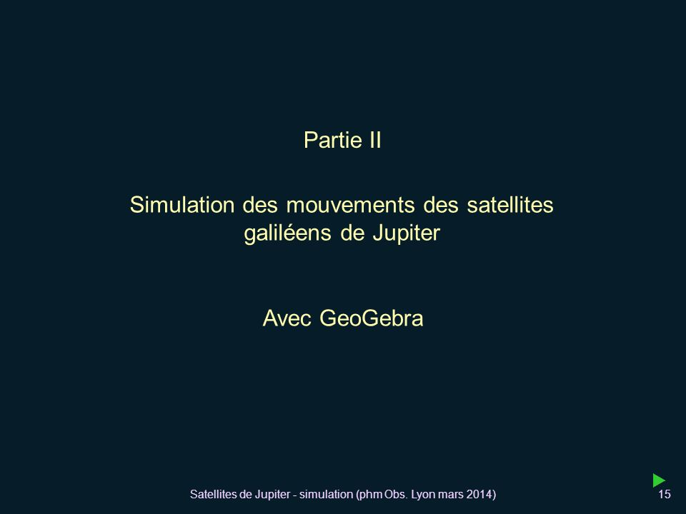 Simulation des mouvements des satellites galiléens de Jupiter