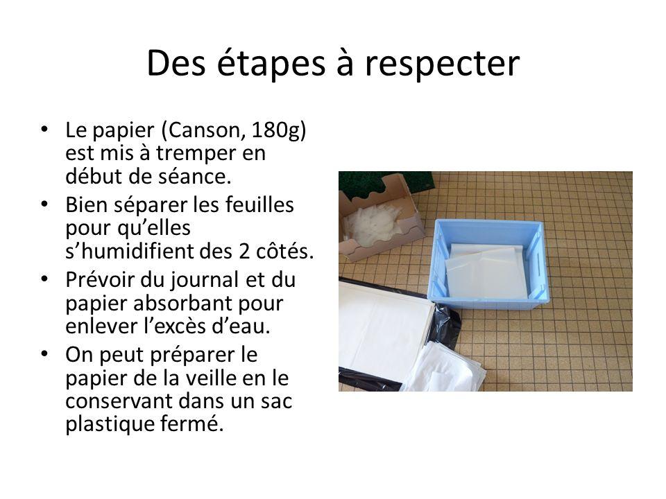 Des étapes à respecter Le papier (Canson, 180g) est mis à tremper en début de séance.