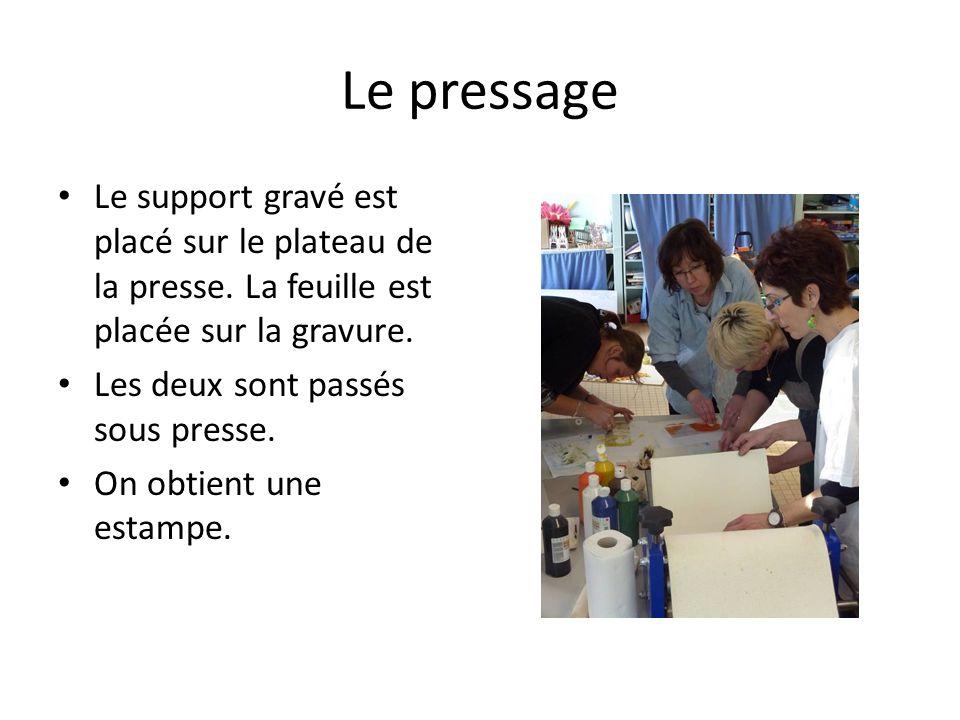 Le pressage Le support gravé est placé sur le plateau de la presse. La feuille est placée sur la gravure.
