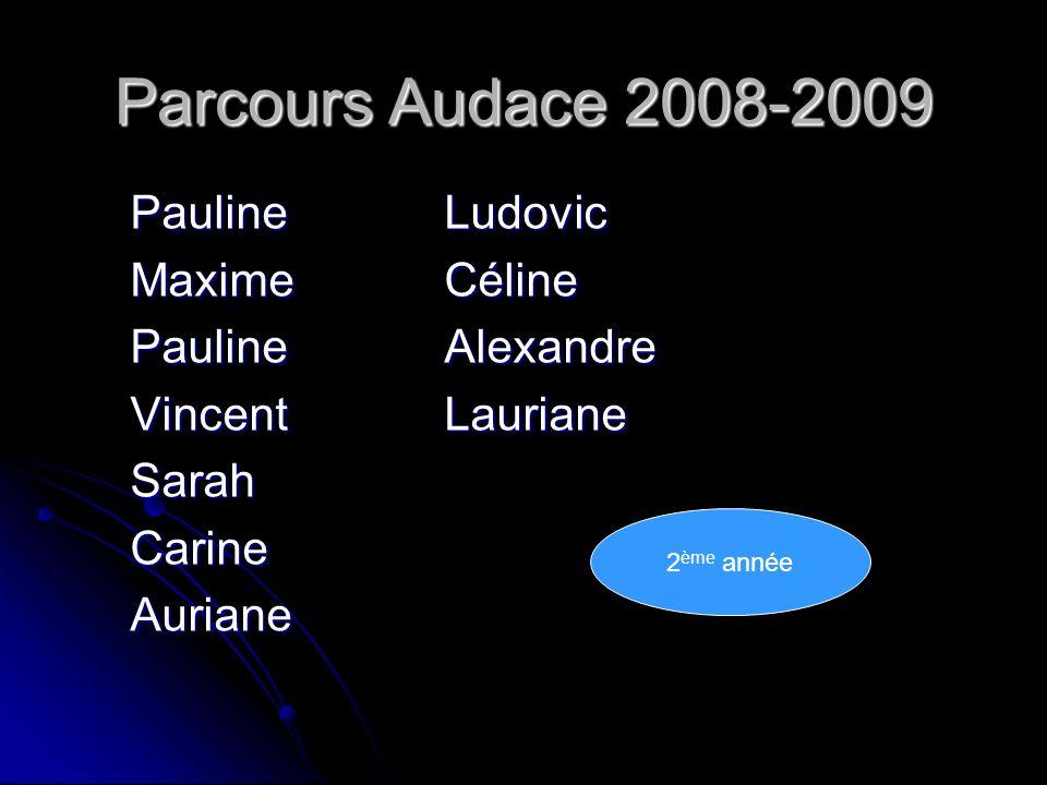 Parcours Audace 2008-2009 Pauline Ludovic Maxime Céline