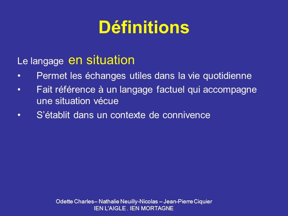 Définitions Le langage en situation
