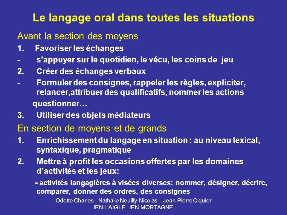 Le langage oral dans toutes les situations