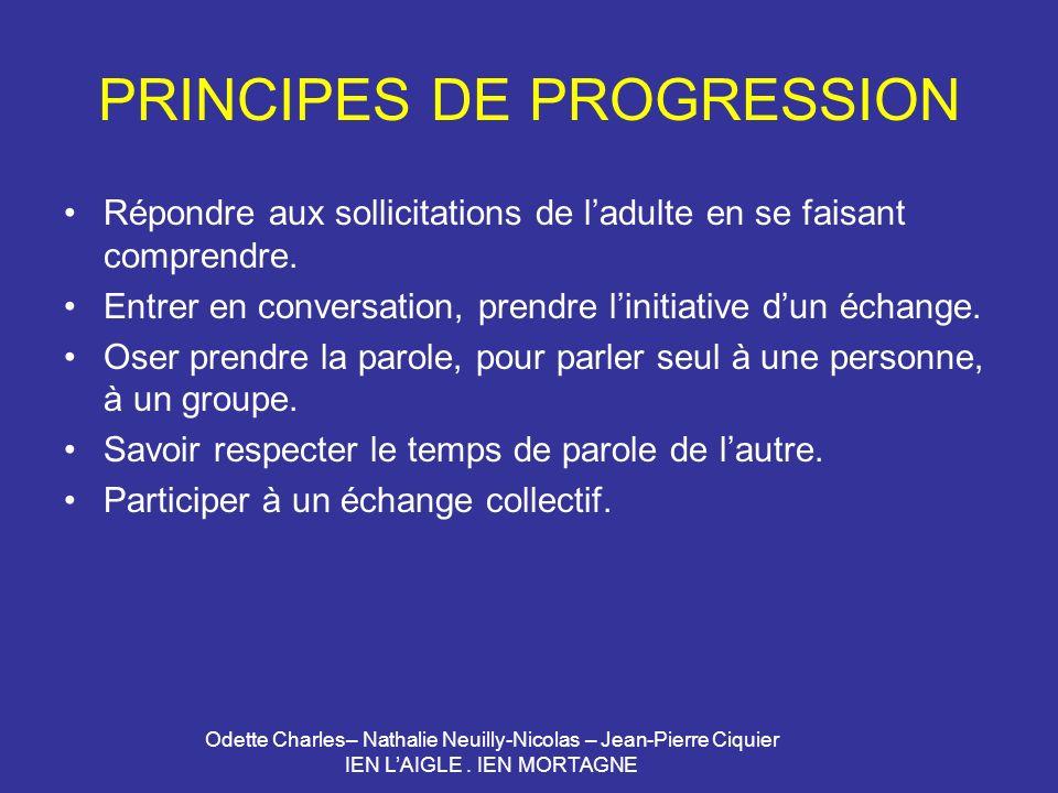 PRINCIPES DE PROGRESSION
