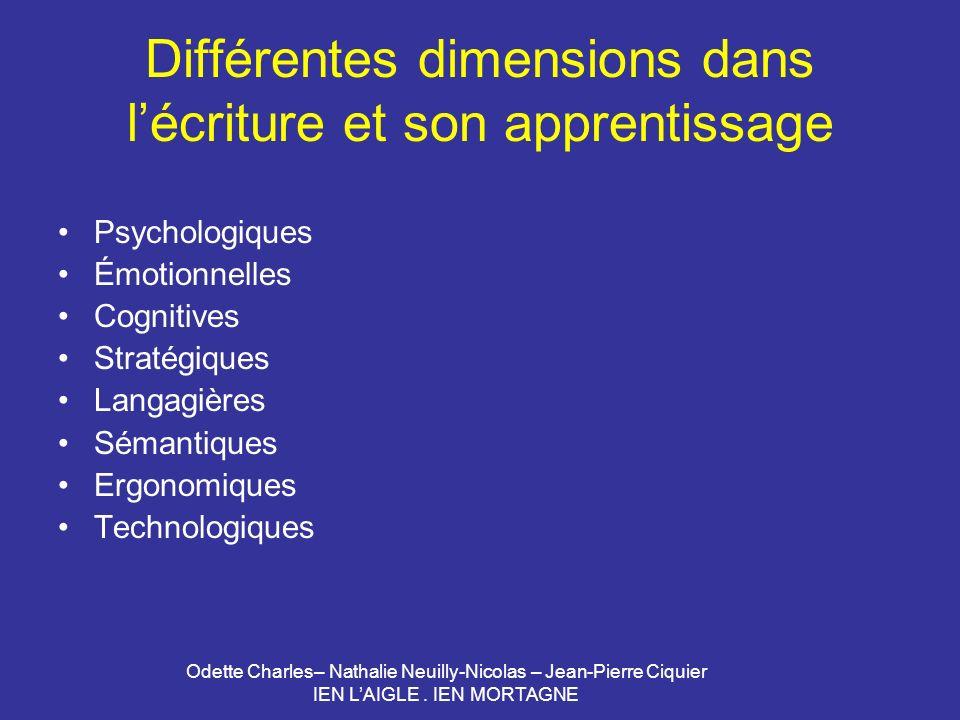 Différentes dimensions dans l'écriture et son apprentissage
