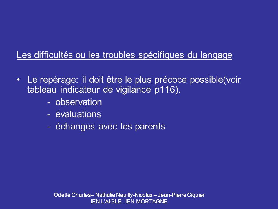 Les difficultés ou les troubles spécifiques du langage