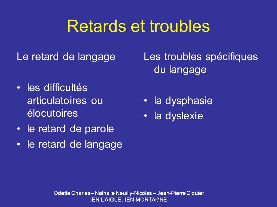 Retards et troubles Le retard de langage