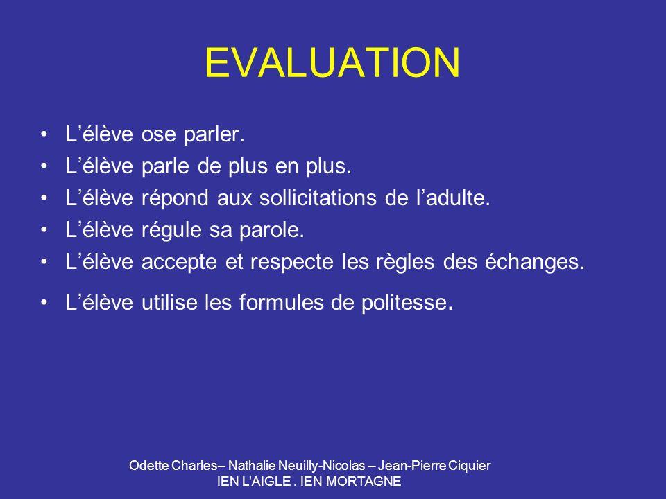 EVALUATION L'élève ose parler. L'élève parle de plus en plus.