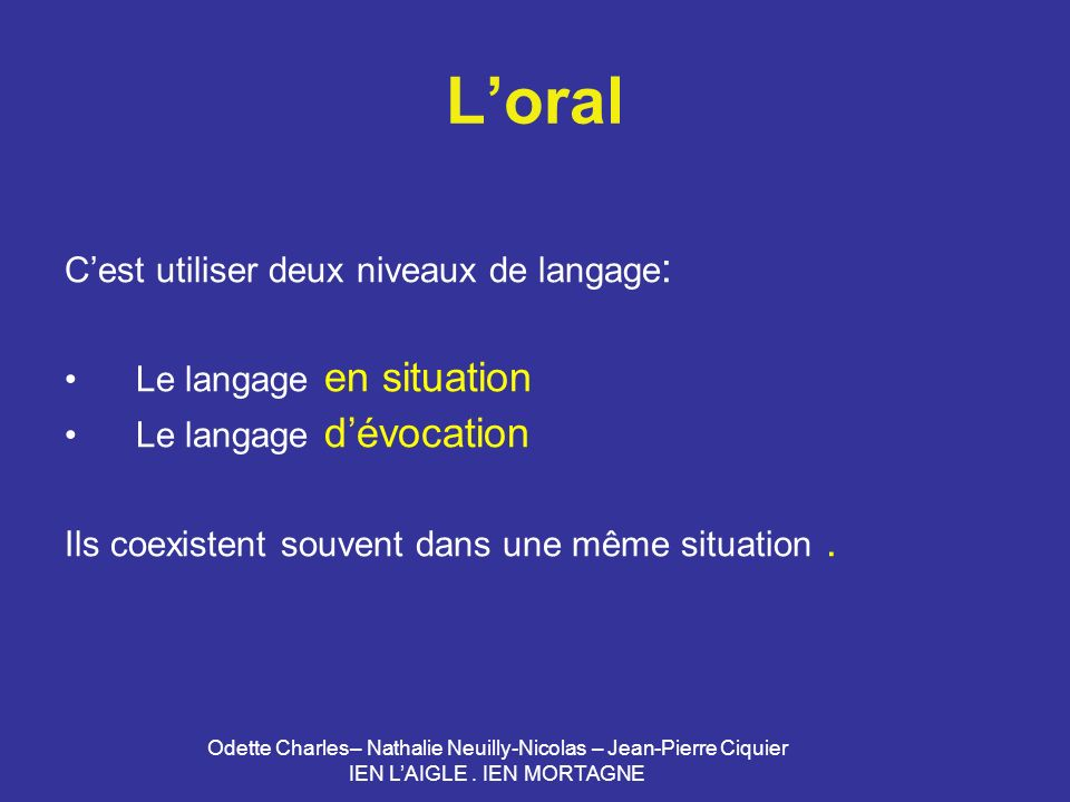 L'oral C'est utiliser deux niveaux de langage: Le langage en situation