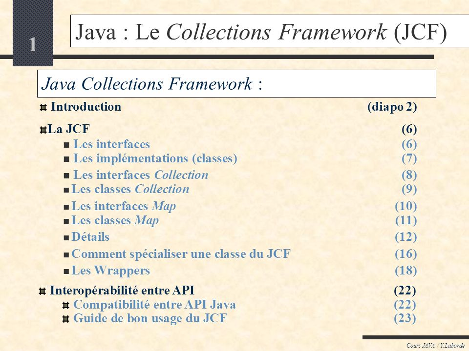 Java : Le Collections Framework (JCF)