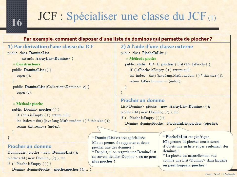 JCF : Spécialiser une classe du JCF (1)