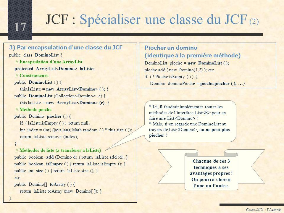 JCF : Spécialiser une classe du JCF (2)