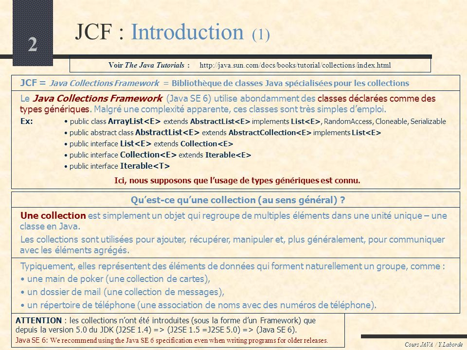 Cours LOO / Y.Laborde JCF : Introduction (1) Voir The Java Tutorials : http://java.sun.com/docs/books/tutorial/collections/index.html.