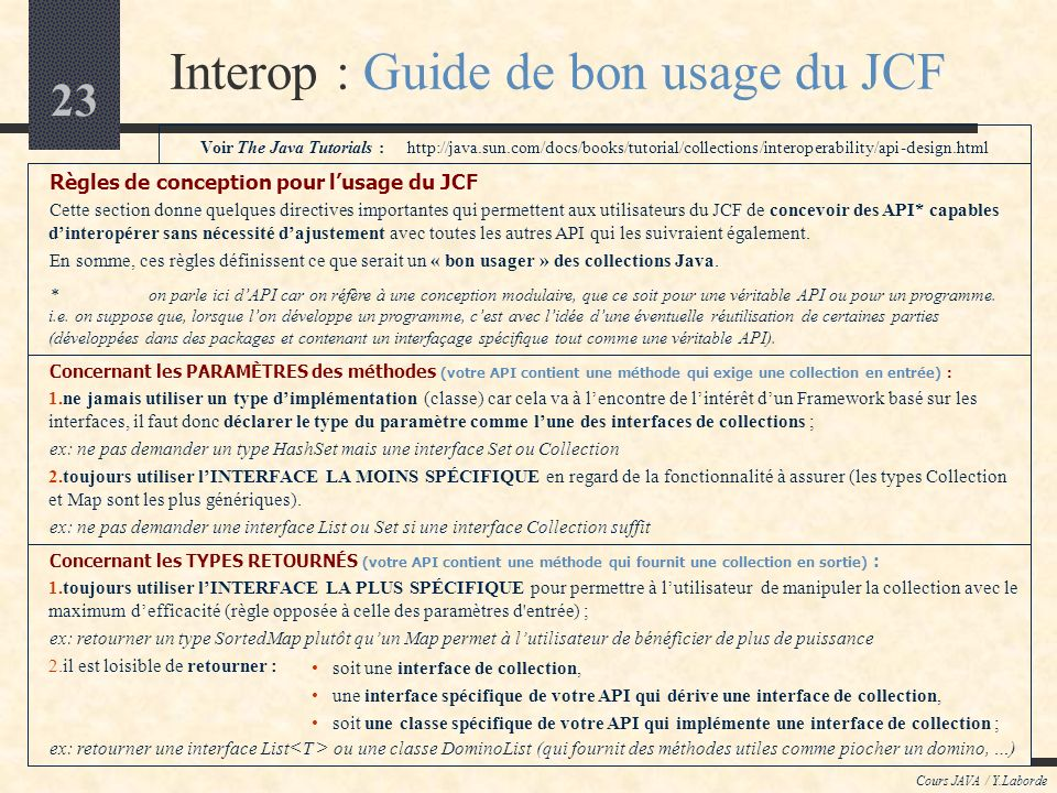 Interop : Guide de bon usage du JCF