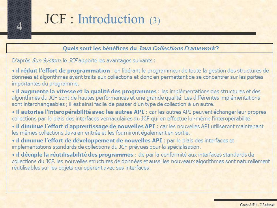Quels sont les bénéfices du Java Collections Framework