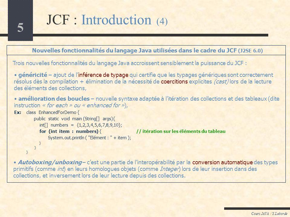 Cours LOO / Y.Laborde JCF : Introduction (4) Nouvelles fonctionnalités du langage Java utilisées dans le cadre du JCF (J2SE 6.0)