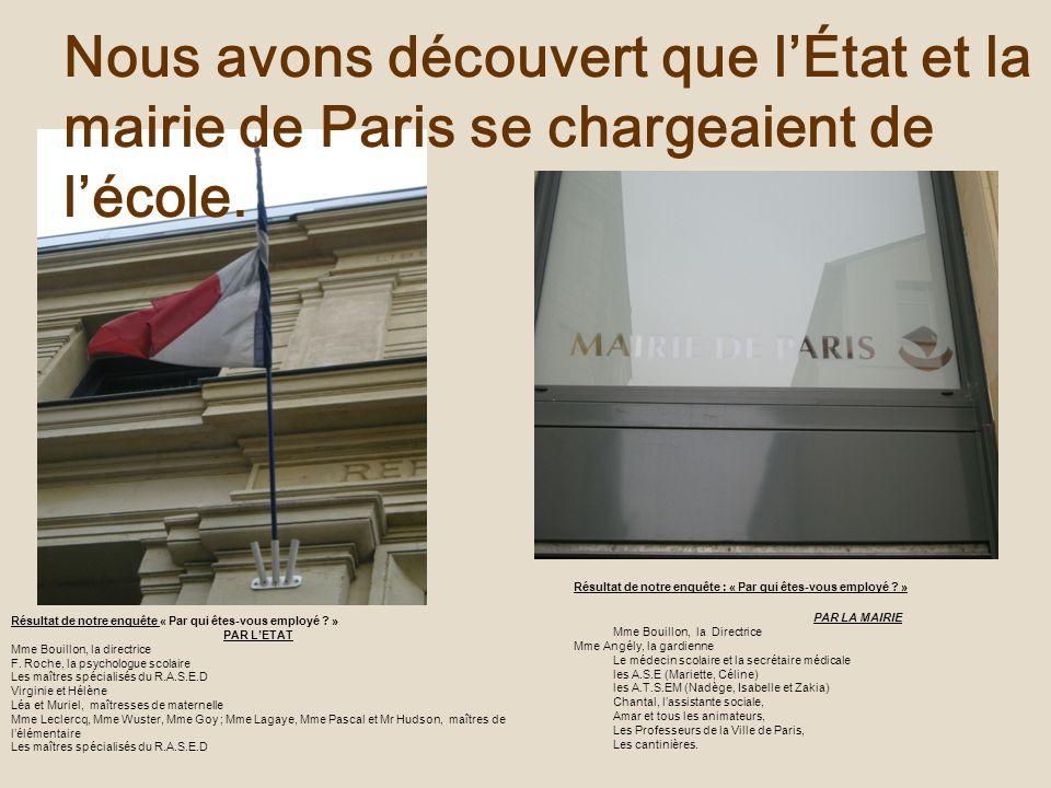 Nous avons découvert que l'État et la mairie de Paris se chargeaient de l'école.