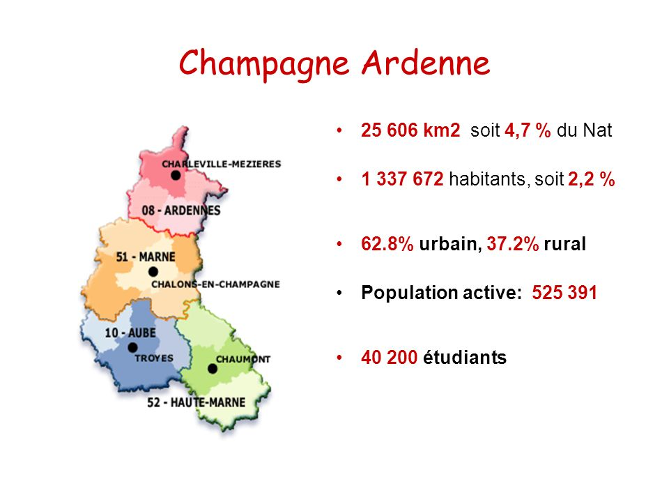 Champagne Ardenne 25 606 km2 soit 4,7 % du Nat